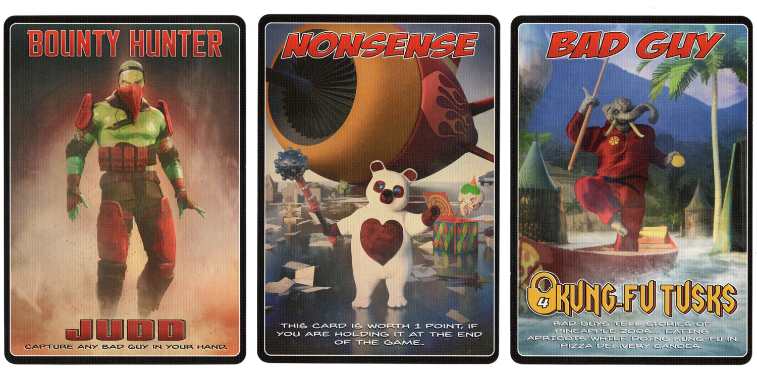 Example cards from Bad Guy Nonsense card game