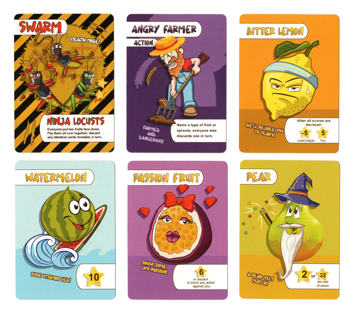 A selection of cards from Funki Fruit card game Check out the puns!