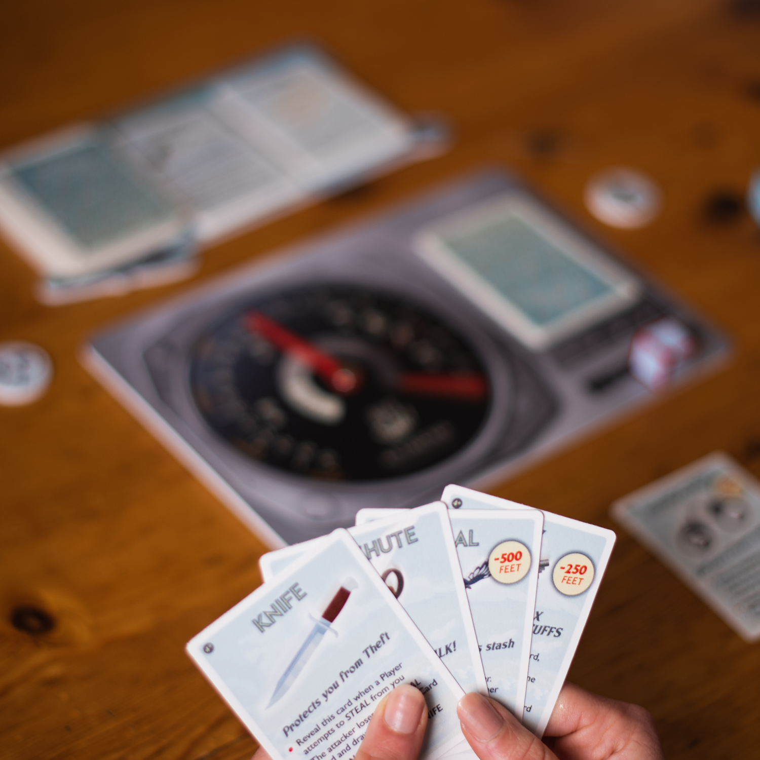 A hand of cards in Hit the Silk! Image courtesy of Escape Plan Board Games